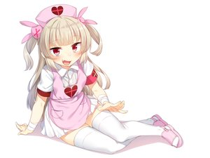 Rating: Safe Score: 73 Tags: aliasing bandage blonde_hair blush dress fang headdress loli long_hair natori_sana nurse racer_(magnet) red_eyes sana_channel thighhighs twintails white wristwear User: BattlequeenYume
