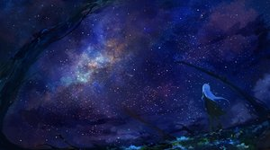 Rating: Safe Score: 75 Tags: axleaki blue_hair boots clouds gloves long_hair night original sky stars User: Dreista