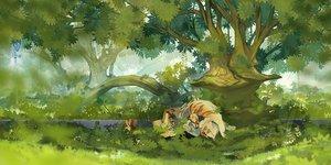 Rating: Safe Score: 85 Tags: akitsu_taira animal original sleeping tiger tree User: opai