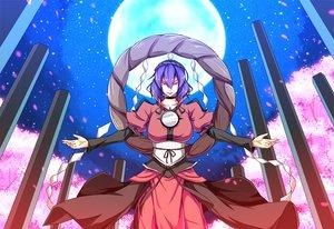 Rating: Safe Score: 14 Tags: dream_demon flowers moon petals purple_hair red_eyes sky touhou yasaka_kanako User: RyuZU