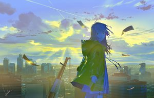 Rating: Safe Score: 53 Tags: building city clouds dress hoodie landscape long_hair loundraw original rooftop scenic signed sky summer_dress User: RyuZU
