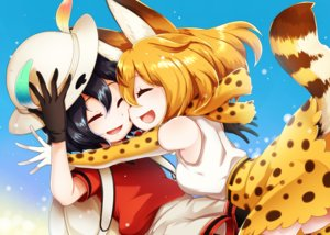 Rating: Safe Score: 25 Tags: 2girls animal_ears anthropomorphism black_hair blonde_hair catgirl elbow_gloves gloves hat hug kaban kemono_friends mame_jirushi scarf serval short_hair tail thighhighs User: RyuZU