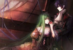 Rating: Safe Score: 145 Tags: cc code_geass dress green_hair lelouch_lamperouge male purple_eyes raicy signed User: opai