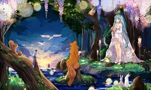 Rating: Safe Score: 20 Tags: animal flowers hatsune_miku long_hair twintails vocaloid water wedding_attire User: luckyluna
