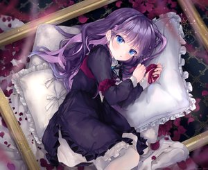 Rating: Safe Score: 112 Tags: bed blue_eyes blush feli_(puyo_pop_fever) goth-loli loli lolita_fashion long_hair pantyhose petals purple_hair puyo_puyo ribbons tears yunmi_0527 User: BattlequeenYume