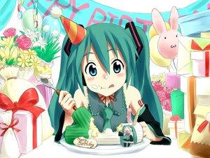 Rating: Safe Score: 64 Tags: cake food hachune_miku hatsune_miku jpeg_artifacts pennel vocaloid User: anaraquelk2