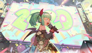 Rating: Safe Score: 20 Tags: elbow_gloves fang gloves goth-loli green_eyes green_hair horns lolita_fashion microphone original pointed_ears ponytail short_hair te wings User: RyuZU