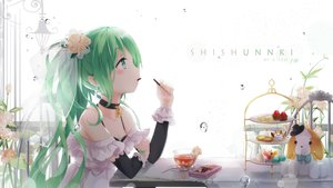 Rating: Safe Score: 122 Tags: cake choker drink flowers food gloves green_hair hatsune_miku headdress kuroi_asahi long_hair necklace pocky ponytail vocaloid water User: Flandre93