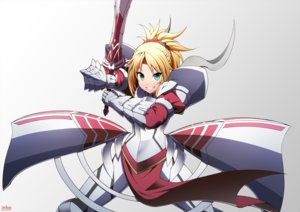 Rating: Safe Score: 35 Tags: armor blonde_hair braids fate/apocrypha fate_(series) gradient green_eyes mordred ookami_maito ponytail signed sword weapon User: RyuZU