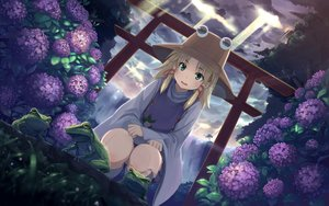 Rating: Safe Score: 136 Tags: animal blonde_hair buriterium clouds flowers frog green_eyes hat moriya_suwako sky torii touhou tree water waterfall User: Wiresetc