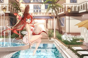 Rating: Safe Score: 59 Tags: ass barefoot blue_eyes clouble drink food fruit hat logo pool red_hair red:_pride_of_eden see_through swimsuit tagme_(character) water white User: BattlequeenYume