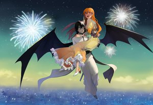 Rating: Safe Score: 31 Tags: bleach fireworks inoue_orihime lolita_fashion male runia ulquiorra_schiffer wings User: HawthorneKitty