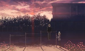 Rating: Safe Score: 112 Tags: aqua_eyes blonde_hair boots building clouds flowers headband headphones hoodie isou_nagi kagamine_len kagamine_rin male pantyhose scenic short_hair shorts sky sunset tree vocaloid User: HawthorneKitty