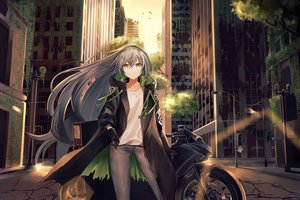 Rating: Safe Score: 103 Tags: aek-999 aircell animal anthropomorphism bird building city girls_frontline gray_hair long_hair motorcycle ruins scenic yellow_eyes User: BattlequeenYume