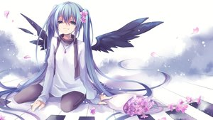 Rating: Safe Score: 131 Tags: aqua_eyes aqua_hair flowers hatsune_miku instrument kuroi_(liar-player) long_hair necklace pantyhose petals piano tears twintails vocaloid wings User: Flandre93