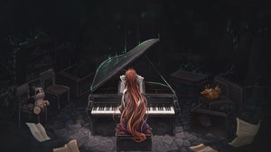 Rating: Safe Score: 51 Tags: bow dark doki_doki_literature_club! instrument long_hair monika_(ddlc) paper piano ponytail red_hair signed tagme_(artist) User: BattlequeenYume