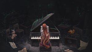 Rating: Safe Score: 88 Tags: bow dark doki_doki_literature_club! instrument long_hair monika_(ddlc) paper piano ponytail red_hair signed tagme_(artist) User: BattlequeenYume