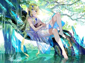 Rating: Safe Score: 80 Tags: aqua_eyes barefoot dress fuji_choko green_hair long_hair original pointed_ears shade tree water waterfall User: BattlequeenYume