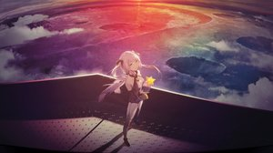 Rating: Safe Score: 78 Tags: clouds cropped kieed planet purple_hair thighhighs twintails vocaloid xingchen yellow_eyes User: BattlequeenYume