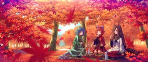 Rating: Safe Score: 47 Tags: animal_ears autumn black_hair blue_eyes blue_hair bow drink fang food forest imaizumi_kagerou leaves long_hair mermaid red_eyes red_hair sekibanki short_hair teiraa touhou tree wakasagihime water wolfgirl User: RyuZU