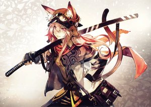 Rating: Safe Score: 113 Tags: animal_ears banpai_akira catgirl gloves goggles long_hair pink_eyes pink_hair scan scarf sword tail weapon User: RyuZU