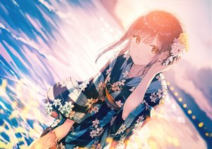 Rating: Safe Score: 230 Tags: brown_hair flowers hiten_goane_ryu japanese_clothes orange_eyes original sky sunset water yukata User: sadodere-chan