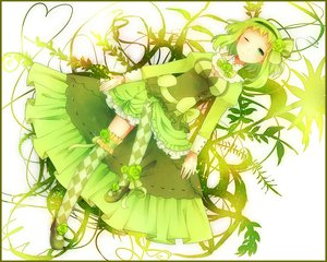 Rating: Safe Score: 78 Tags: achiki bow breasts cleavage dress flowers green green_eyes green_hair gumi headband rose thighhighs vocaloid wink User: opai