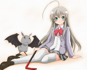 Rating: Safe Score: 74 Tags: gray_hair green_eyes haiyore!_nyaruko-san nyaruko seifuku shantak-kun User: gnarf1975