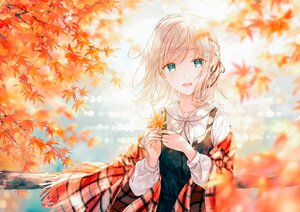 Rating: Safe Score: 96 Tags: autumn blonde_hair blush braids dress green_eyes hiten_goane_ryu leaves original shirt short_hair tree water User: BattlequeenYume