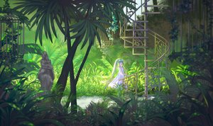 Rating: Safe Score: 74 Tags: aqua_hair cage dress hatsune_miku hei_yu leaves long_hair stairs summer_dress tree twintails vocaloid User: luckyluna