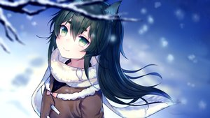 Rating: Safe Score: 47 Tags: animal_ears close green_eyes long_hair ookamisama original scarf snow wolfgirl User: Nepcoheart