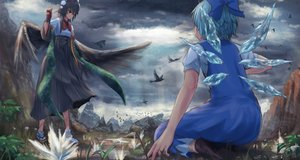 Rating: Safe Score: 36 Tags: 2girls animal aqua_hair bird black_hair bow brown_eyes cirno clouds dress fairy gloves grass roke_(taikodon) shameimaru_aya short_hair sky touhou wings User: RyuZU
