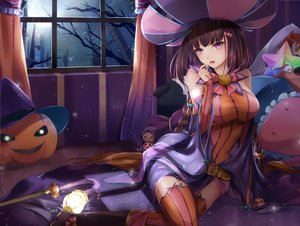 Rating: Safe Score: 84 Tags: boots breasts brown_hair elbow_gloves fate/grand_order fate_(series) gloves halloween hat long_hair osakabehime pumpkin purple_eyes slime_(user_jpds8754) thighhighs tree twintails witch User: Nepcoheart