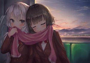 Rating: Safe Score: 38 Tags: 2girls dark gray_hair long_hair original parfait_fate school_uniform shoujo_ai sleeping sunset User: Fepple