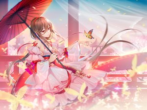 Rating: Safe Score: 125 Tags: bow brown_hair building butterfly chinese_clothes chinese_dress headdress lolita_fashion long_hair red_eyes ribbons sky tidsean umbrella vocaloid vocaloid_china wristwear yuezheng_ling User: BattlequeenYume