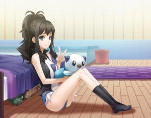 Rating: Safe Score: 366 Tags: bed black_hair blue_eyes green_hair n oshawott pesu_(penpen) pokemon socks touko_(pokemon) User: opai