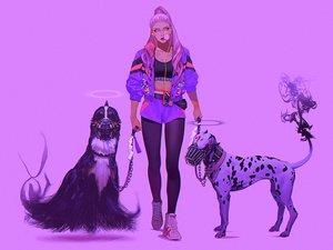 Rating: Safe Score: 71 Tags: animal bra chain collar dog halo headphones long_hair mask original pantyhose ponytail purple purple_hair realistic shorts tomono_rui underwear User: otaku_emmy