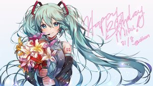 Rating: Safe Score: 47 Tags: aqua_eyes aqua_hair blush flowers gradient hatsune_miku long_hair signed vocaloid xionfes User: FormX