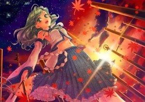Rating: Safe Score: 64 Tags: autumn japanese_clothes kochiya_sanae leaves miko moriya_suwako night sunset touhou usaki yasaka_kanako User: HawthorneKitty