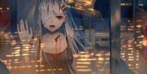 Rating: Safe Score: 91 Tags: bandage blood building city cropped eyepatch ji_dao_ji long_hair night original red_eyes reflection white_hair User: BattlequeenYume