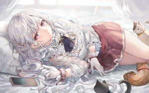 Rating: Safe Score: 28 Tags: animal cat gloves gray_hair long_hair momoko_(momopoco) original phone purple_eyes ribbons shirt skirt User: Fepple