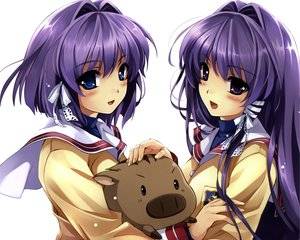 Rating: Safe Score: 193 Tags: 2girls animal blue_eyes botan clannad fujibayashi_kyou fujibayashi_ryou long_hair misaki_kurehito purple_eyes purple_hair ribbons scan school_uniform short_hair twins User: Wiresetc