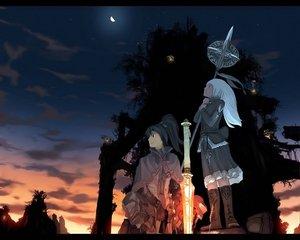 Rating: Safe Score: 28 Tags: black_hair boots cape clouds dawn jpeg_artifacts moon ponytail scenic sky sunset sword teikoku_shounen tree weapon white_hair User: rodri1711