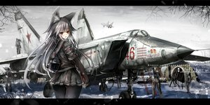 Rating: Safe Score: 94 Tags: aircraft animal_ears blush brown_hair combat_vehicle foxgirl gray_hair hagurumadaze long_hair male original pantyhose red_eyes snow translation_request User: RyuZU