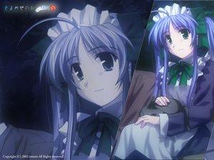 Rating: Safe Score: 0 Tags: aqua_eyes blue_hair maid narukaze_minamo twintails wind:_a_breath_of_heart User: Oyashiro-sama