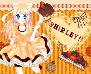Rating: Safe Score: 26 Tags: blonde_hair blue_eyes bow cake dress food kagamine_rin vocaloid User: HawthorneKitty