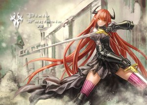 Rating: Safe Score: 143 Tags: armor dress horns infukun orange_eyes orange_hair original pixiv_fantasia sword weapon User: FormX