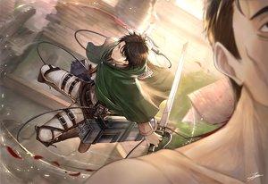 Rating: Safe Score: 33 Tags: all_male black_eyes black_hair blood levi_ackerman male shingeki_no_kyojin short_hair signed sword tenyo0819 weapon User: RyuZU