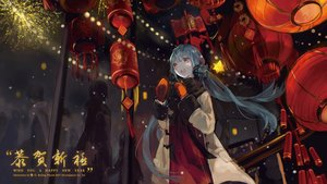 Rating: Safe Score: 44 Tags: blue_hair bou_shaku bow dress fireworks gloves long_hair scarf twintails vocaloid winter xingchen yellow_eyes User: Flandre93