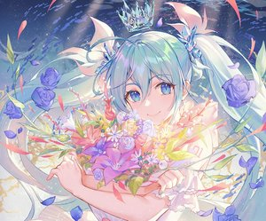 Rating: Safe Score: 69 Tags: aqua_eyes aqua_hair atdan cropped crown dress flowers hatsune_miku long_hair petals rose tattoo twintails underwater vocaloid water User: otaku_emmy